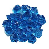 Acrylic Ice Rock Cubes Jewels Gems, Simuer Faux Diamond Crystals Treasure Gems Fake Crushed Stones for Tables Decorations, Vase Fillers,Fishbowl Beads Wedding Or Birthday Gift Blue