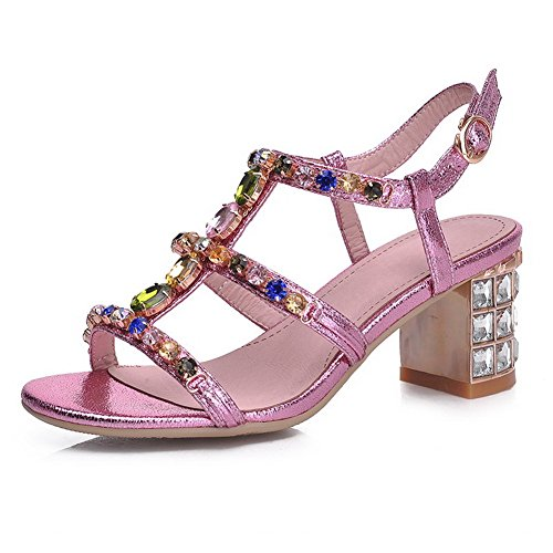 AllhqFashion Womens Solid PU Open Toe Kitten-Heels Buckle Sandals Pink dPyWU