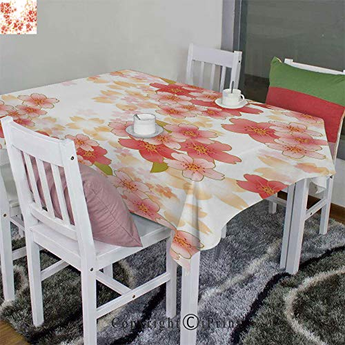 AngelSept Indoor/Outdoor Spillproof Tablecloth Velour Hemp by Japanese Sakura Flowers Cherry Blossoms in Vibrant Colors Illustration(60