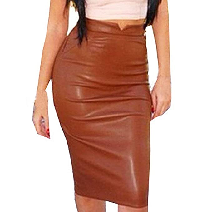 Sannysis Falda Mujer Falda de Tul Faldas Cortas de Piel de PU ...