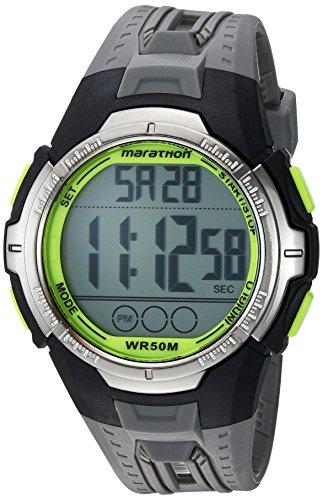 Marathon by Timex Men's TW5M06700 Digital Full-Size Gray/Black/Green Resin Strap Watch Timex