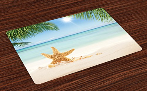 Lunarable Ocean Place Mats Set of 4, Graphic of Summer Sandy Beach with Majestic Starfish on Tropical Hawaiian Beach, Washable Fabric Placemats for Dining Room Kitchen Table Decor, Cream Blue Green
