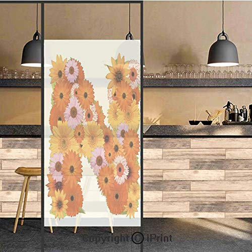 3D Decorative Privacy Window Films,Vibrant Flowers Summer Color Scheme Gerbera Daisies Bouquet Style N Sign Alphabet,No-Glue Self Static Cling Glass film for Home Bedroom Bathroom Kitchen Office 17.5x