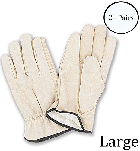 Hawk Men's Large Size Top Grain Fleece Lined Cowhide Gloves: GL-05102-Z02 : ( 2 Pairs )