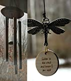 SALE Dragonfly Memorial I am Near Wind Chime in memory of Loved One Silver Wind Chime for Memorial Garden or Porch Heaven day remembering stillborn death of other father remembering gift
