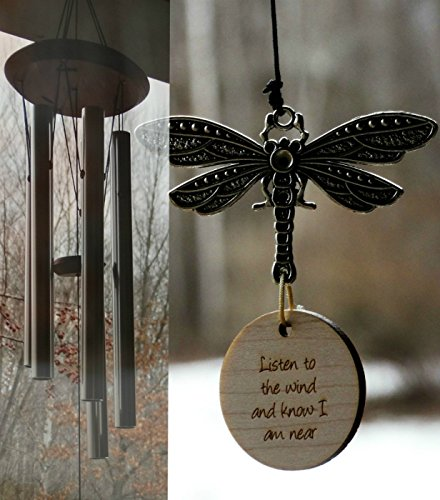 Garden Vintage 1 (Wind Chime Dragonfly Memorial I am Near Best Sounding in memory of Loved One Silver Wind Chime for Memorial Garden or Porch Heaven day remembering stillborn death of other father remembering gift)
