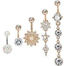 Hanpabum 5Pcs 14G Stainless Steel Dangle Belly Button Rings for Women Girls CZ Navel Rings Body Piercing Jewelry
