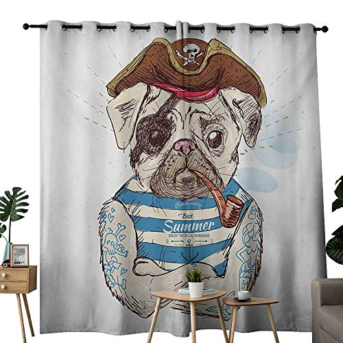 NUOMANAN Curtains 63 inch Length Pug,Pirate Pug Conqueror of The Seas Pipe Skulls and Bones Hat Striped Sleeveless T-Shirt,Brown Blue,Insulating Room Darkening Blackout Drapes for Bedroom 120