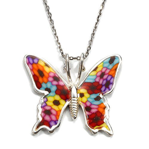 (925 Sterling Silver Butterfly Necklace Pendant Multi Colored Polymer Clay Handmade Charm Jewelry, 16.5