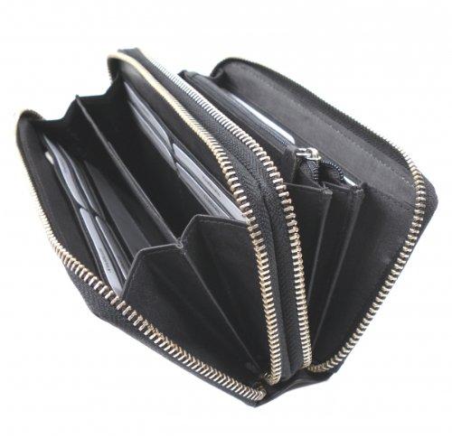 flevado Xl Portemonnaie Gro/ße Damen Nappa Vintage Leder Geldb/örse mit RFID in Schwarz mit viel Stauraum und Platz f/ür 22 Karten