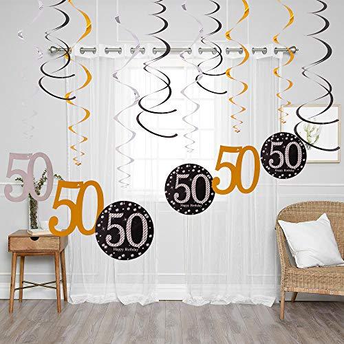 (90shine 50th Birthday Hanging Swirls Party Decoration Foil Decor Supplies (12PCS))