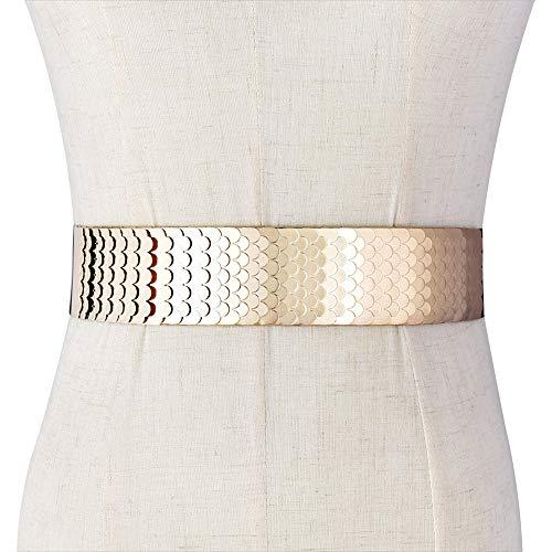 - Talleffort Fashion Women's Center-Scaled Texturized Metallic Stretch Belt Wide Elastic Waist Belt G-L