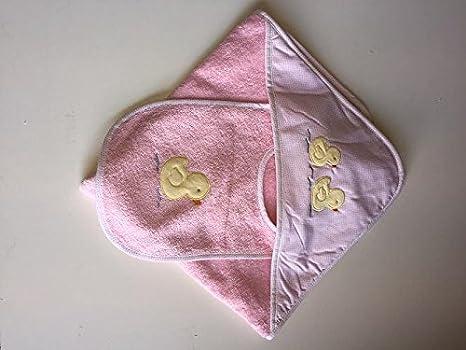 Baby Cuddle toalla y babero, Rosa Diseño de Pato, toalla con capucha y babero bebé, rizo Baby Set de regalo: Amazon.es: Bebé