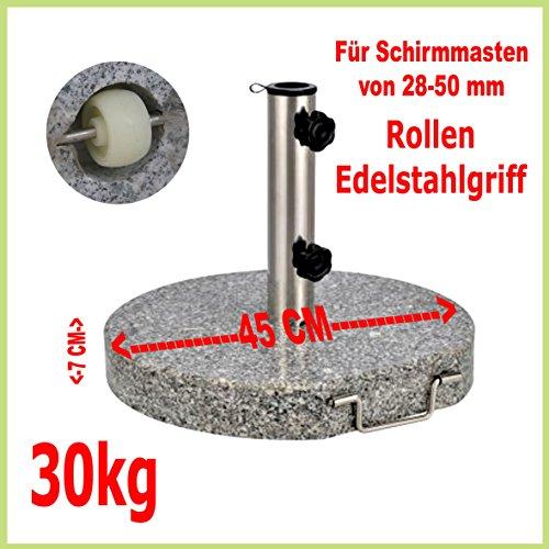 Schirmstnder-aus-Granit-rund-45cm-30kg-Edelstahlgriff-Rollen