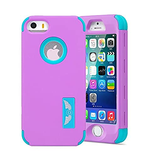 iPhone SE Case, iPhone 5S Case, iPhone 5 Case, Asstar 3in1 Shock Absorbing Case, Full Body Protective Rubber Combo Hybrid Impact Silicone Armor Hard Case Cover for iPhone SE/5/5S (Purple (Rubber Iphone 5s Cases Disney)