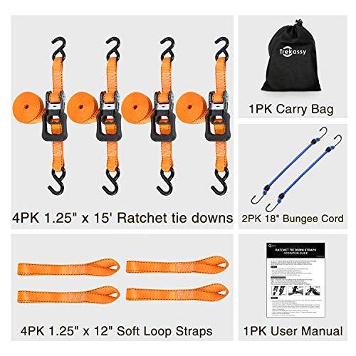 Trekassy Tie Down Straps Ratchet Heavy Duty 4 Pack - 15 Ft - 3450 lbs Max Break Strength - Bonus 4+2 Soft Loop Anchoring Straps for Securing Motorcycles by Trekassy (Image #6)