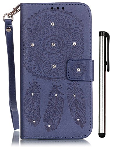 iPhone 6 Wallet Case 4.7 inch iPhone 6S Funny Case Blue Leather Full Body Magnet Book Cover Cell Phone with Bling Crystal Stand Credit Card Holder Cash Slot Wrist Strap - Australia Gift Electronic Cards