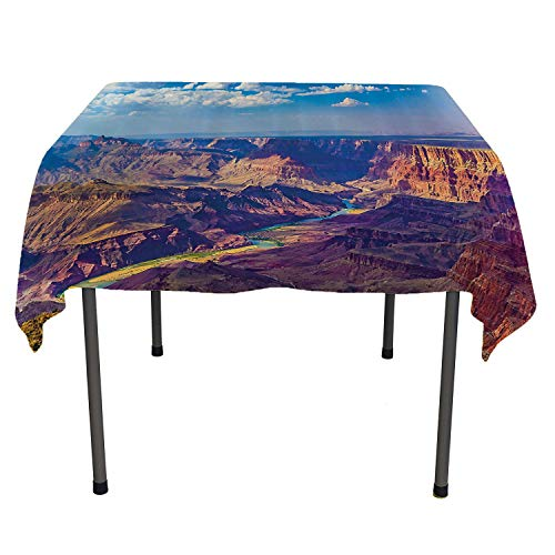 (House Decor Table Cloth Cover Aerial View of Epic Grand Canyon Activity of River Stream Over Rock Plateau Print Blue Tan Outdoor Picnic Table Cloth Washable Spring/Summer/Party/Picnic 60 by 90)