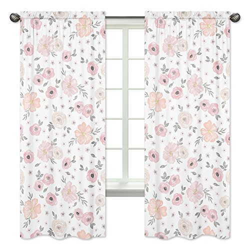 Sweet JoJo Designs 2-Piece Blush Pink, Grey and White Window Treatment Panels Curtains for Watercolor Floral Collection by - Floral Curtain