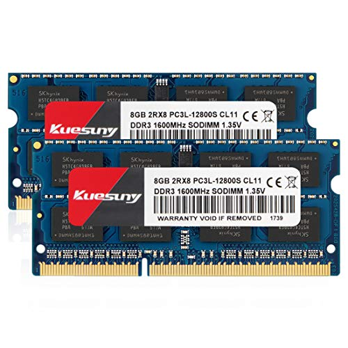 Ecs Laptop Notebooks - KUESUNY 16GB Kit (8GBX2) DDR3L-1600 Sodimm RAM, PC3L-12800/PC3L-12800s Memory 204 Pin 1.35V/1.5V CL11 Non-ECC Unbuffered 2RX8 Dual Rank for Laptop Notebook Computer-Blue
