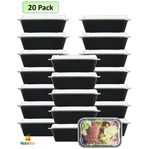 NutriBox [20 Value Pack] single one compartment 24 OZ Meal Prep Plastic Food Storage Containers - BPA Free Reusable Lunch Bento Box - Microwave, Dishwasher and Freezer Safe - For - Pack To What For Camping Trip