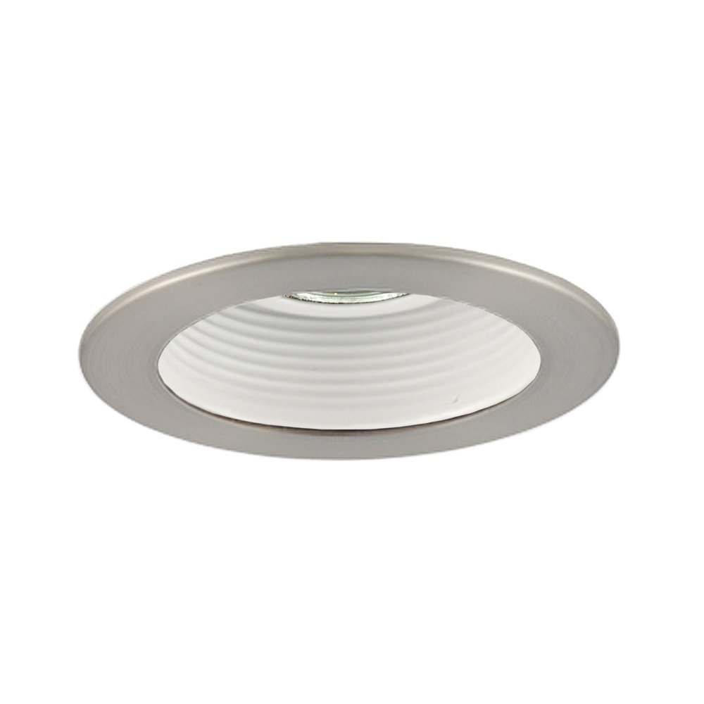 Jesco Lighting TM401STWH Aperture Low Voltage Trim With Adjustable Step Baffle44; Satin Chrome44; White Trim