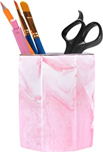Nipichsha Pen Holder, Ceramics Pencil Holder for Desk, Pink Marble Makeup Brushes Organizer Pen Stand Cup for Office & Home, Cute Desk Decor Office Accessories Gift for Women, Men, Kids and Girls