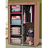 Portable Wardrobe Storage Clothes Closet with Shelves for Bedroom 34-Inch