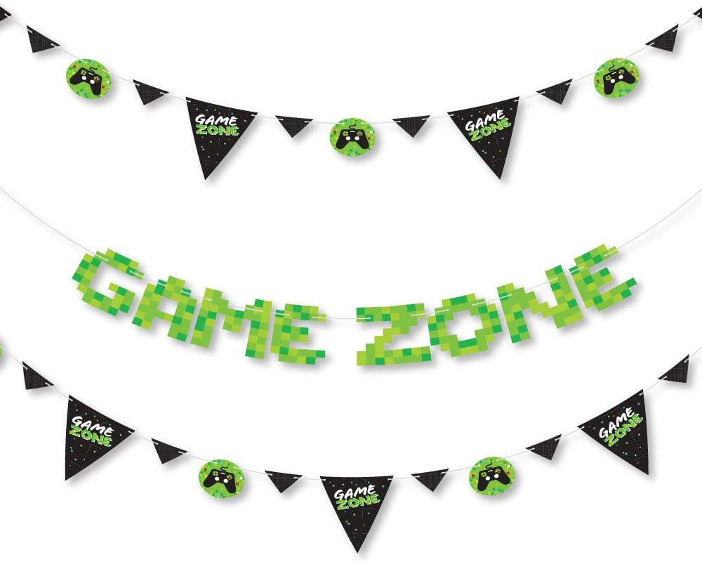 Big Dot of Happiness Game Zone 36 Banner Cutouts and Game Zone Banner Letters Pixel Video Game Party Letter Banner Decoration