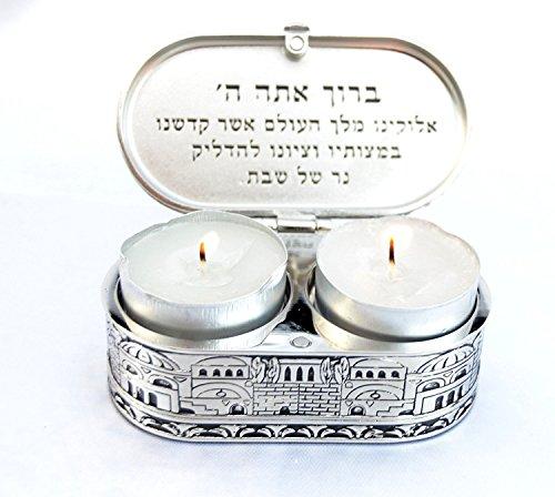 Jerusalem Travel Candlesticks Shabbat Candle Holders Israel Nickel Tea Light ()