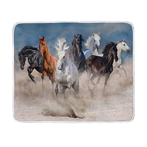 ALAZA Wildlife Horse Herd Desert Storm Plush Throws Siesta C