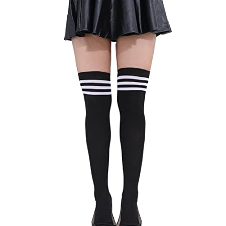 85201442c Women Triple Stripes Over the Knee Socks Long Football Soccer Socks High  Knee Socks Tube Socks for Black White: Amazon.co.uk: Kitchen & Home