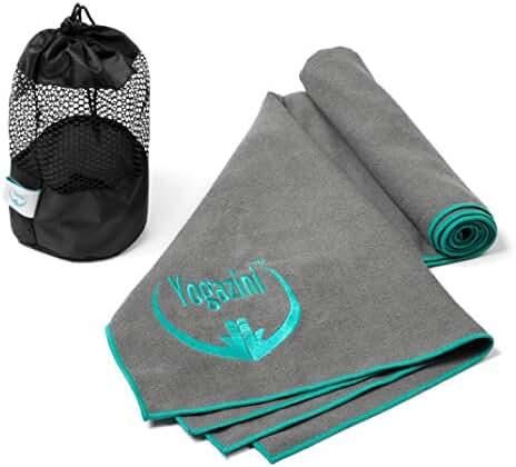 Hot Yoga Towel Plus Mesh Bag By Yogazini - Non Slip, Skidless, 100% Microfiber, Light, Quick Dry - No Slipping as Bikram Yoga Towel - Super Absorbent, Machine Washable - designed for better Grip