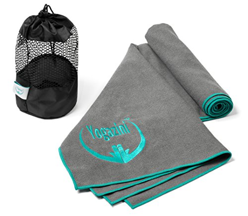 Hot Yoga Towel Plus Mesh Bag By Yogazini - Non Slip, Skidless, 100% Microfiber, Light, Quick Dry - No Slipping as Bikram Yoga Towel - Super Absorbent, Machine Washable - designed for better Grip
