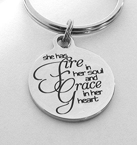 She Has Fire in Her Soul and Grace in Her Heart Keychain, Bag Charm, Inspiration by Heart Projects (Image #1)