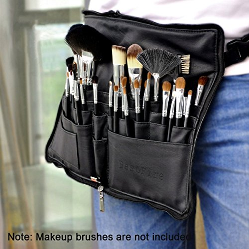 BestFire-Professional-Makeup-Brush-Bag-Case-Portable-22-Pockets-Cosmetic-Brush-Holder-Organizer-with-Artist-Belt-Strap-PU-LeatherBrushes-Not-Included