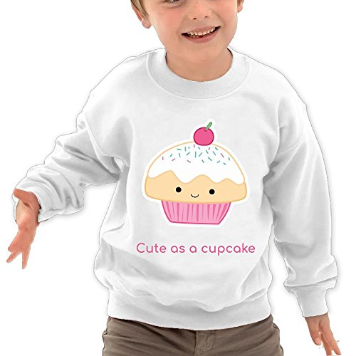 Puppylol Cute As A Cupcake Kids Classic Crew-Neck Pullover Hoodie White 2 Toddler