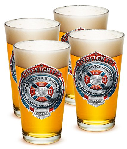 SET OF 4 American Firefighter Badge of Honor 16 Ounce Pint Pub Glasses