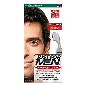 Amazon.com : Just For Men AutoStop Men\'s Comb-In Hair Color, Dark ...