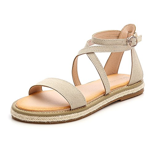 Wollanlily Women Roman Style Gladiator Sandals Ankle Strap Espadrilles Side Summer Flats Shoes Apricot-01 US 8.5