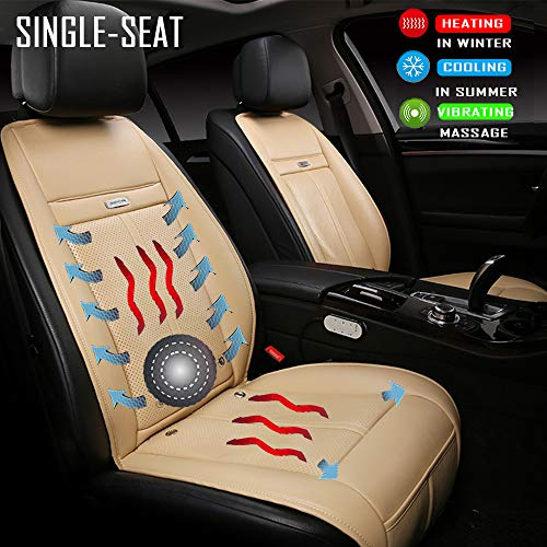 - Fochutech Car seat Heat Pad, 12V DC Seat Heater Seat Warmers - Seat Cushion with Cooling, Heating and Massage Functions, Universal Heated Cushion for Home, Car and Office (Single-seated, Beige)