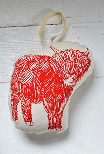 Mini Plush Ornament, Cow, Handmade Christmas Decor, Red Print, Holiday Decoration