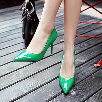 Printemps, été, et polyvalente Noir pointu Chaussures à talons hauts Fille fine Professional Unique à chaussures, 37, Vert