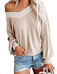 Kelove Women's Waffle Knit Long Sleeve v Neck Off-Shoulder Tops,Solid Color Pullover Sweaters