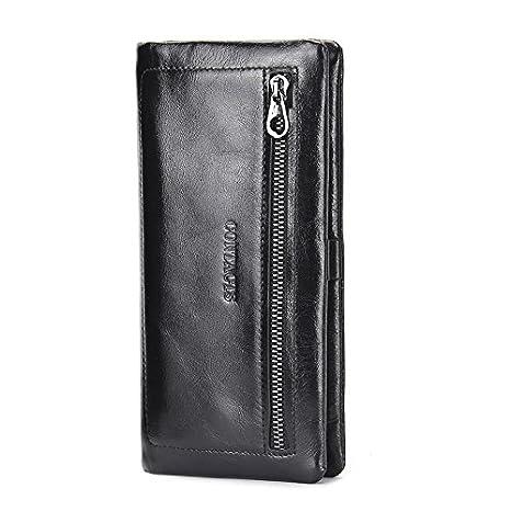 YF-Monedero, carteras de largo doble ocasional de los hombres, estilos europeos y americanos, estilos de los hombres de cuero , black: Amazon.es: Equipaje