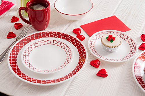 """Corelle 1123686 Livingware 16-Piece Dinnerware Set, Crimson Trellis, Red/White - Service for 4 includes: 4 each 10-1/4"""" Dinner Plates, 6-3/4"""" Bread and Butter Plates, 18-Ounce Soup/Cereal Bowls, 11-Ounce Stoneware Mugs Made with break and scratch resistant patented Vitrelle glass technology Space saving design: lightweight and thin, yet extremely durable - kitchen-tabletop, kitchen-dining-room, dinnerware-sets - 51TlO6EQV2L -"""