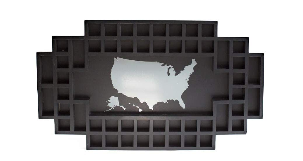 Shot Glass Display Frame - 52 Spaces - Solid Wood Frame - World Map - US Map (Black, US Map)