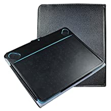 Mama Mouth Slim-Book Folio Carry PU Leather Cover for Wacom Intuos Medium Art CTH690AK CTH690AB / 3D CTH690TK / Comic CTH-690/K1 CTH-690/B1 Digital Drawing Tablet,Black