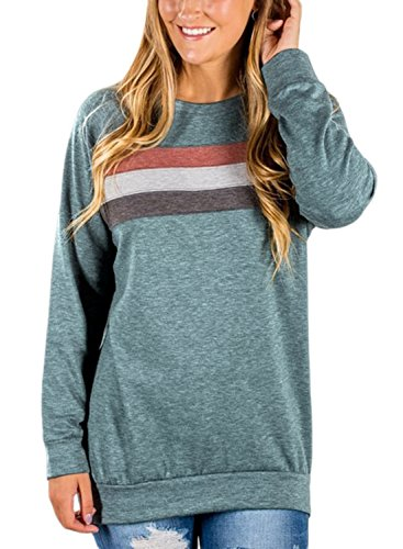Dokotoo Womens Ladies Winter Crewneck Casual Long Sleeve Athletic Stripe Color Block Tunics Sweatshirt Pullover Blouses T Shirt Tops Green Medium - Stripe Long Sleeve Tunic