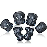 Adults Skateboard Scooter Hoverboard Set Elbow Pads Knee Cap Wriste Protector Color:Black Blue Size:S